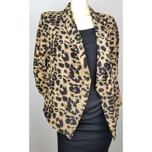 Pearl Leopard/Animal Print Open Blazer,  L